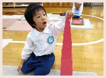 Activity using montessori teaching tools